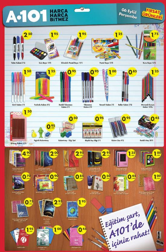 A101 okul ürünleri inserti 6 eylül 2012