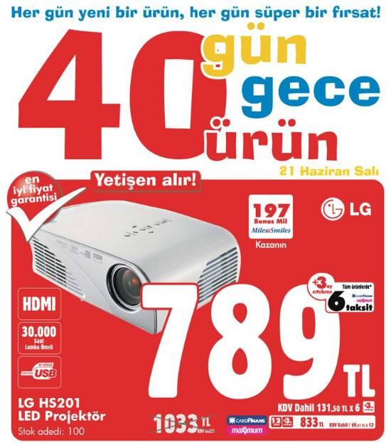Bimeks 40 gün 40 ürün kanyasında bugün lg led projektör 789
