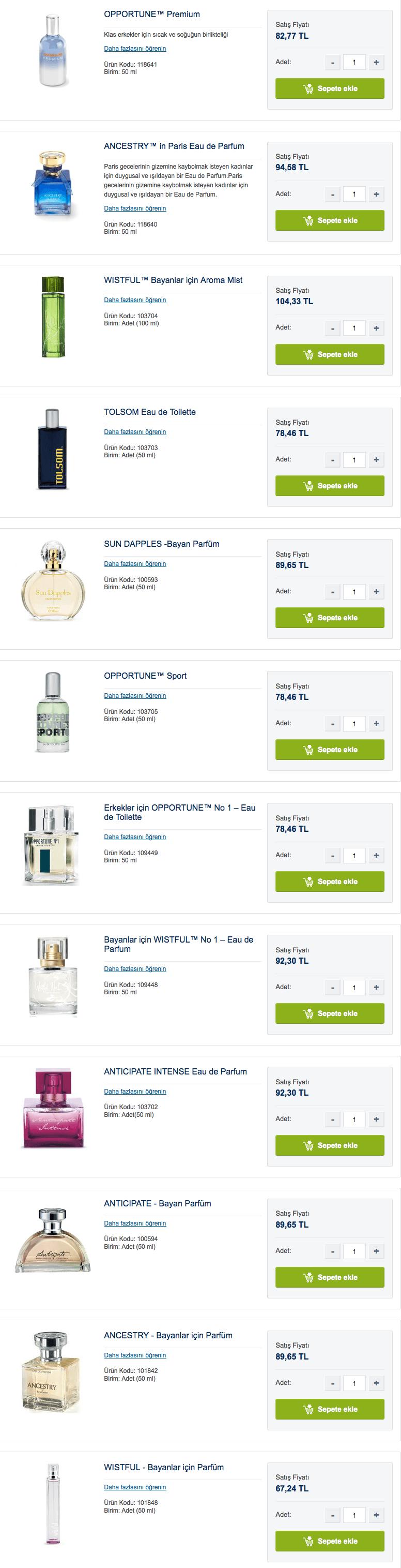 Amyway güncel parfüm fiyatları